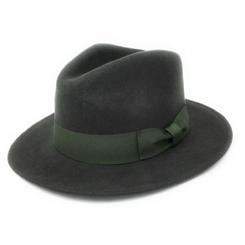 Green Crushable Wool Fedora Hat - Indy